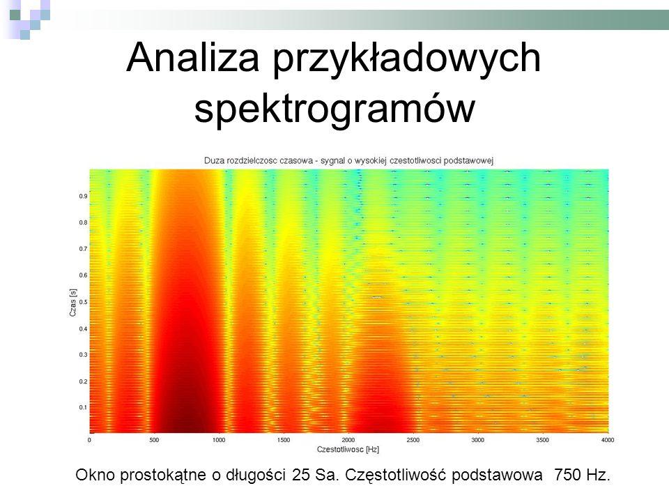 Analiza przykładowych spektrogramów Okno prostokątne o długości 25 Sa. Częstotliwość podstawowa 750 Hz.