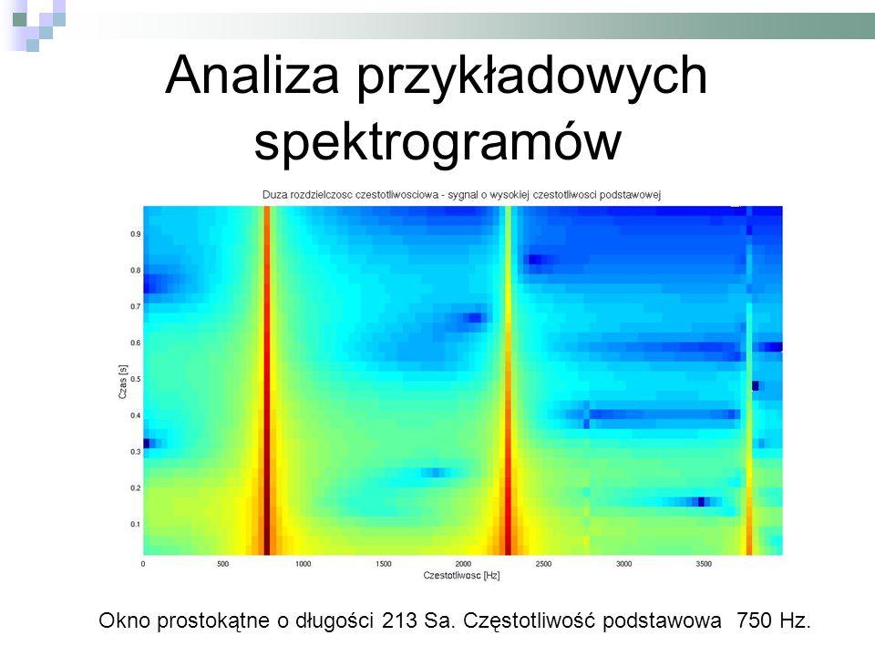 Analiza przykładowych spektrogramów Okno prostokątne o długości 213 Sa. Częstotliwość podstawowa 750 Hz.