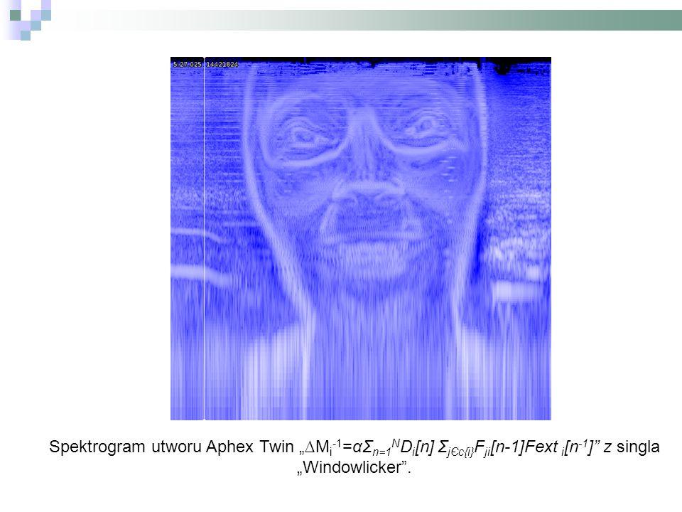 "Spektrogram utworu Aphex Twin ""∆M i -1 =αΣ n=1 N D i [n] Σ jЄc{i} F ji [n-1]Fext i [n -1 ] z singla ""Windowlicker ."