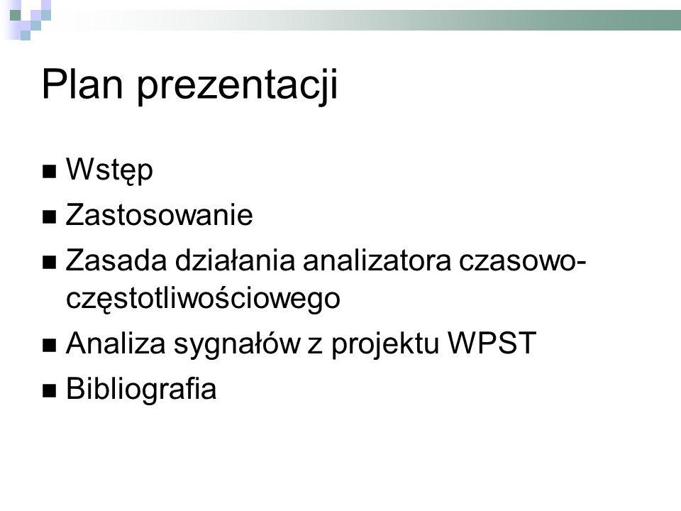 Plan prezentacji Wstęp Zastosowanie Zasada działania analizatora czasowo- częstotliwościowego Analiza sygnałów z projektu WPST Bibliografia