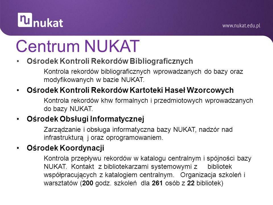 Centrum NUKAT Ośrodek Kontroli Rekordów Bibliograficznych Kontrola rekordów bibliograficznych wprowadzanych do bazy oraz modyfikowanych w bazie NUKAT.