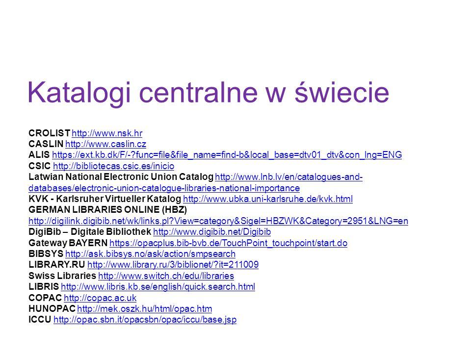 Katalogi centralne w świecie CROLIST http://www.nsk.hrhttp://www.nsk.hr CASLIN http://www.caslin.czhttp://www.caslin.cz ALIS https://ext.kb.dk/F/-?fun