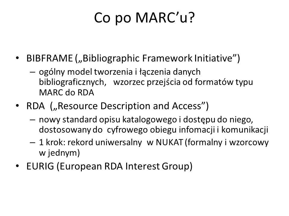 """Co po MARC'u? BIBFRAME (""""Bibliographic Framework Initiative"""") – ogólny model tworzenia i łączenia danych bibliograficznych, wzorzec przejścia od forma"""