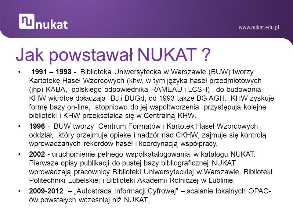 Jak powstawał NUKAT ? 1991 – 1993 - Biblioteka Uniwersytecka w Warszawie (BUW) tworzy Kartotekę Haseł Wzorcowych (khw, w tym języka haseł przedmiotowy