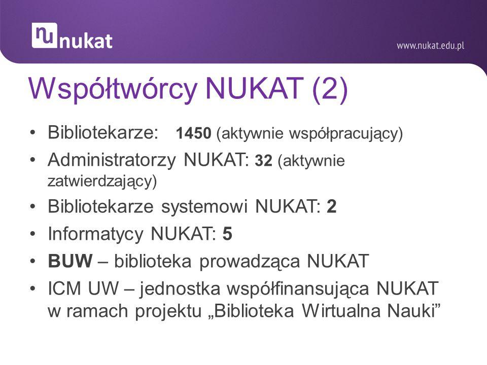 Współtwórcy NUKAT (2) Bibliotekarze: 1450 (aktywnie współpracujący) Administratorzy NUKAT: 32 (aktywnie zatwierdzający) Bibliotekarze systemowi NUKAT: