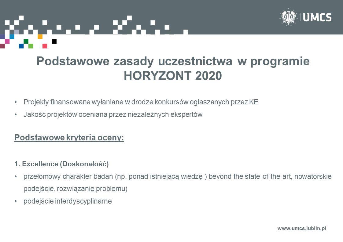 Podstawowe zasady uczestnictwa w programie HORYZONT 2020 Projekty finansowane wyłaniane w drodze konkursów ogłaszanych przez KE Jakość projektów oceni