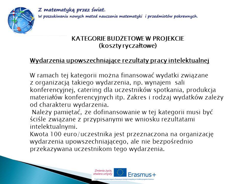 KATEGORIE BUDŻETOWE W PROJEKCIE (koszty ryczałtowe) Wydarzenia upowszechniające rezultaty pracy intelektualnej W ramach tej kategorii można finansować