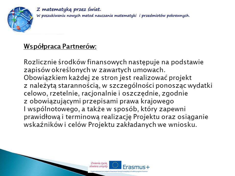 Współpraca Partnerów: Rozlicznie środków finansowych następuje na podstawie zapisów określonych w zawartych umowach. Obowiązkiem każdej ze stron jest