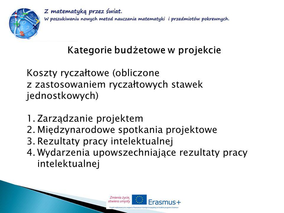 Kategorie budżetowe w projekcie Koszty ryczałtowe (obliczone z zastosowaniem ryczałtowych stawek jednostkowych) 1.Zarządzanie projektem 2.Międzynarodo
