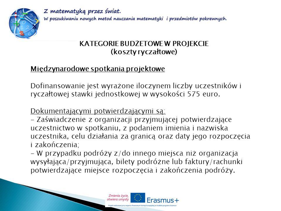 KATEGORIE BUDŻETOWE W PROJEKCIE (koszty ryczałtowe) Międzynarodowe spotkania projektowe Dofinansowanie jest wyrażone iloczynem liczby uczestników i ry