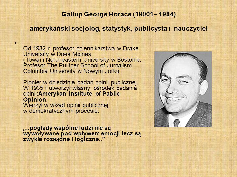 Gallup George Horace (19001– 1984) amerykański socjolog, statystyk, publicysta i nauczyciel Od 1932 r. profesor dziennikarstwa w Drake University w Do