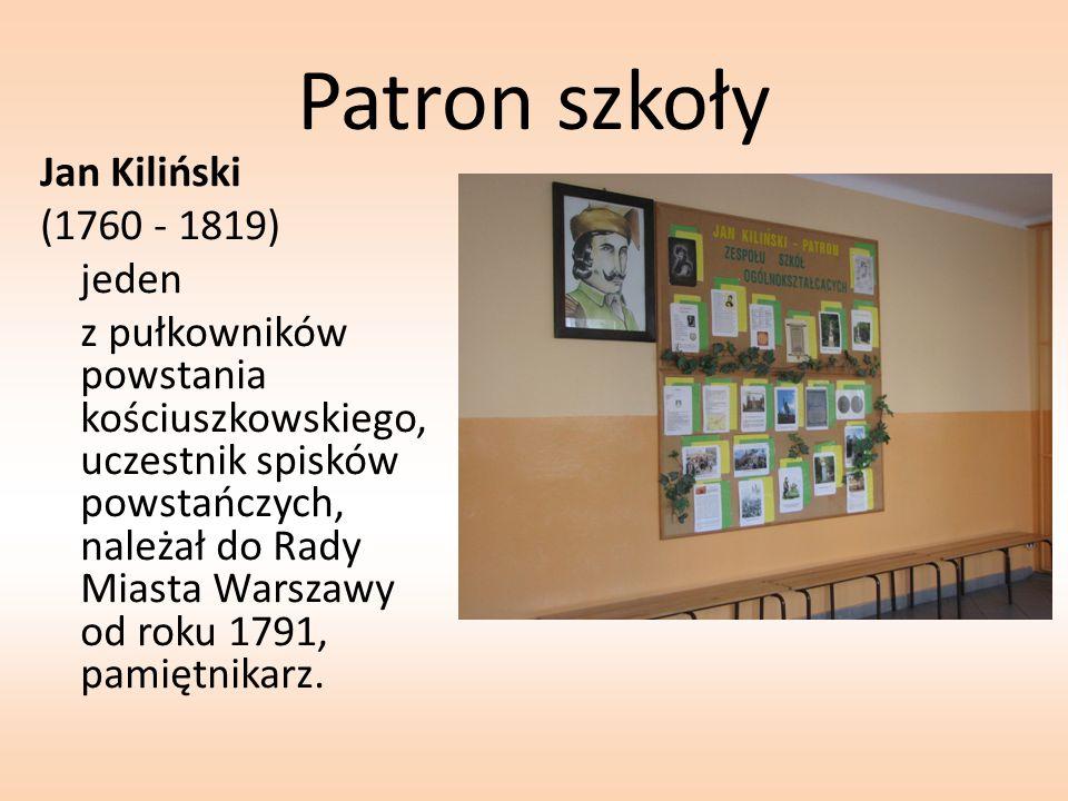 Patron szkoły Jan Kiliński (1760 - 1819) jeden z pułkowników powstania kościuszkowskiego, uczestnik spisków powstańczych, należał do Rady Miasta Warsz
