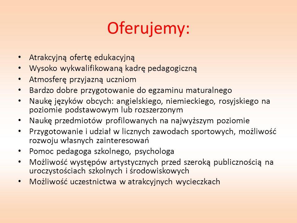 Planowane klasy pierwsze w roku szkolnym 2015/2016 Profil z rozszerzonym nauczaniem języka polskiego, geografii, języka angielskiego Profil z rozszerzonym nauczaniem języka polskiego, historii, języka angielskiego Profil z rozszerzonym nauczaniem matematyki, geografii, języka angielskiego Profil z rozszerzonym nauczaniem matematyki, fizyki, języka angielskiego Profil z rozszerzonym nauczaniem biologii, chemii, języka angielskiego