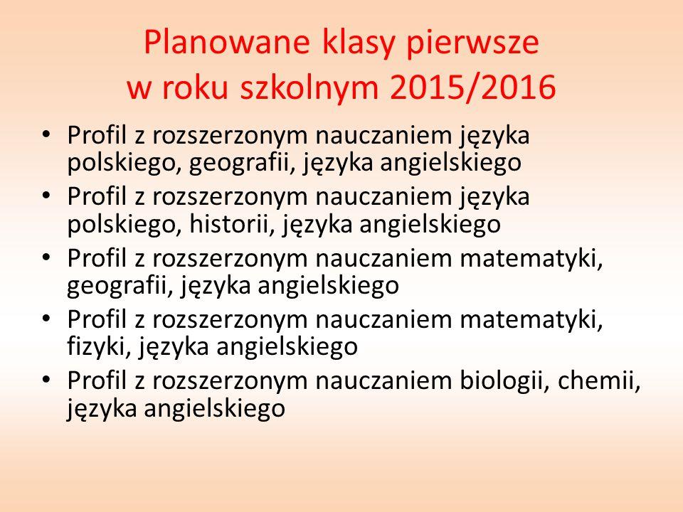 Planowane klasy pierwsze w roku szkolnym 2015/2016 Profil z rozszerzonym nauczaniem języka polskiego, geografii, języka angielskiego Profil z rozszerz