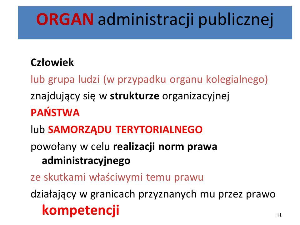 1 ORGAN administracji publicznej Człowiek lub grupa ludzi (w przypadku organu kolegialnego) znajdujący się w strukturze organizacyjnej PAŃSTWA lub SAM