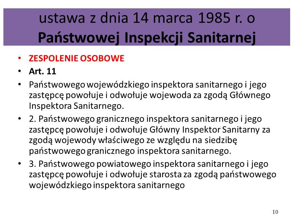 ustawa z dnia 14 marca 1985 r. o Państwowej Inspekcji Sanitarnej ZESPOLENIE OSOBOWE Art. 11 Państwowego wojewódzkiego inspektora sanitarnego i jego za