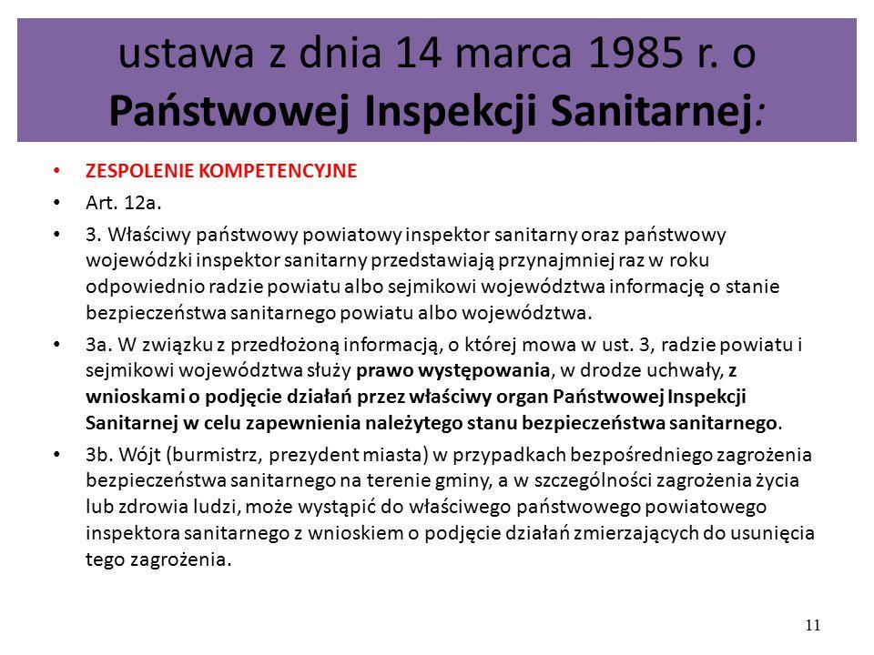 ustawa z dnia 14 marca 1985 r. o Państwowej Inspekcji Sanitarnej: ZESPOLENIE KOMPETENCYJNE Art. 12a. 3. Właściwy państwowy powiatowy inspektor sanitar