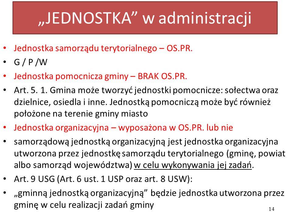 """""""JEDNOSTKA"""" w administracji Jednostka samorządu terytorialnego – OS.PR. G / P /W Jednostka pomocnicza gminy – BRAK OS.PR. Art. 5. 1. Gmina może tworzy"""