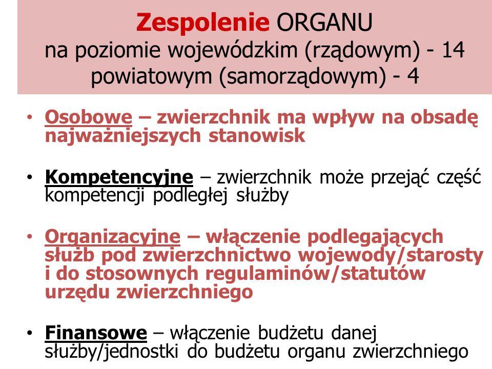 Zespolenie ORGANU na poziomie wojewódzkim (rządowym) - 14 powiatowym (samorządowym) - 4 Osobowe – zwierzchnik ma wpływ na obsadę najważniejszych stano