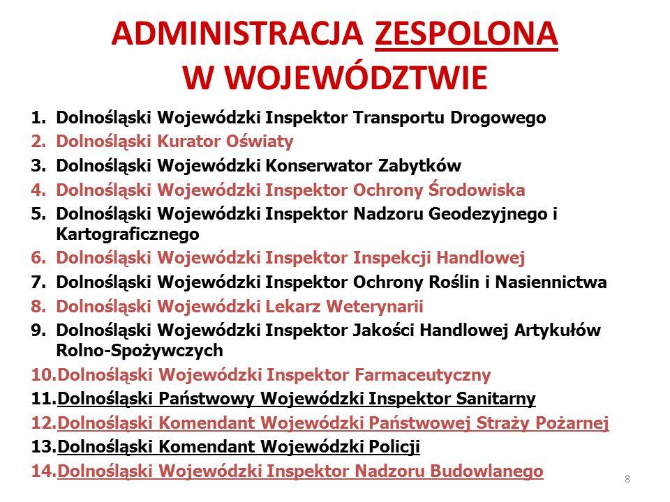 ADMINISTRACJA ZESPOLONA W WOJEWÓDZTWIE 1.Dolnośląski Wojewódzki Inspektor Transportu Drogowego 2.Dolnośląski Kurator Oświaty 3.Dolnośląski Wojewódzki