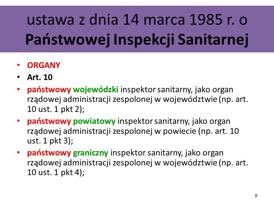 ustawa z dnia 14 marca 1985 r. o Państwowej Inspekcji Sanitarnej ORGANY Art. 10 państwowy wojewódzki inspektor sanitarny, jako organ rządowej administ