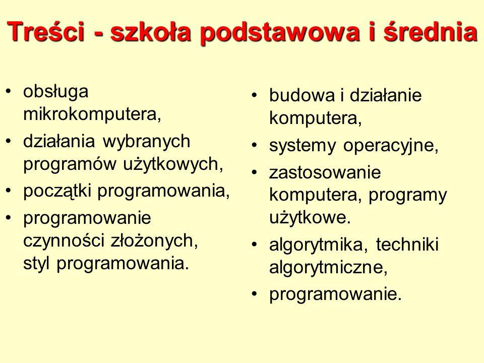 Treści - szkoła podstawowa i średnia obsługa mikrokomputera, działania wybranych programów użytkowych, początki programowania, programowanie czynności złożonych, styl programowania.