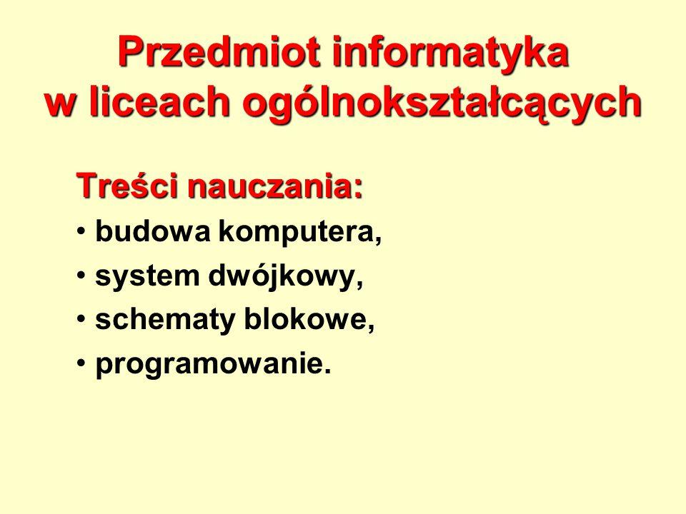 Przedmiot informatyka w liceach ogólnokształcących Treści nauczania: budowa komputera, system dwójkowy, schematy blokowe, programowanie.