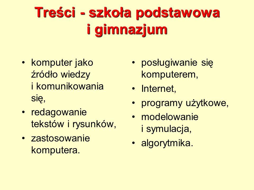 Treści - szkoła podstawowa i gimnazjum komputer jako źródło wiedzy i komunikowania się, redagowanie tekstów i rysunków, zastosowanie komputera.