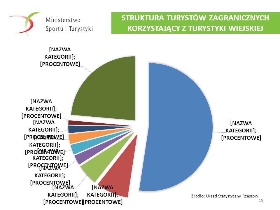 19 STRUKTURA TURYSTÓW ZAGRANICZNYCH KORZYSTAJĄCY Z TURYSTYKI WIEJSKIEJ Źródło: Urząd Statystyczny Rzeszów