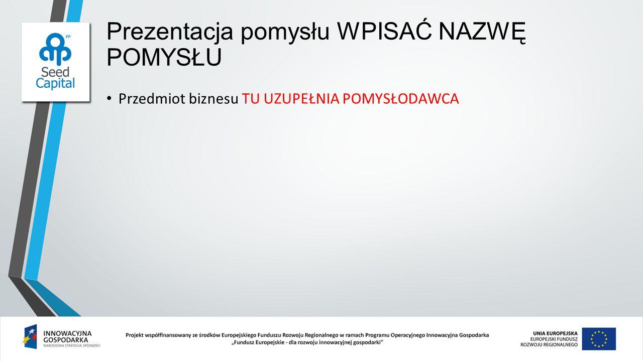 Prezentacja pomysłu WPISAĆ NAZWĘ POMYSŁU Prezentacja zespołu TU UZUPEŁNIA POMYSŁODAWCA