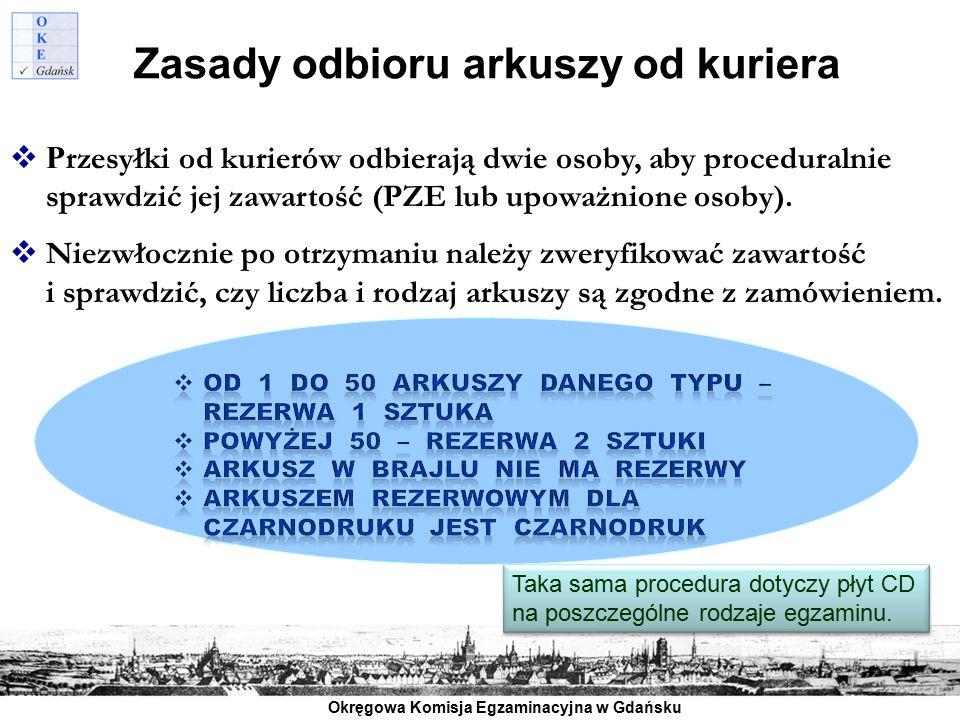 Okręgowa Komisja Egzaminacyjna w Gdańsku Zasady odbioru arkuszy od kuriera  P rzesyłki od kurierów odbierają dwie osoby, aby proceduralnie sprawdzić