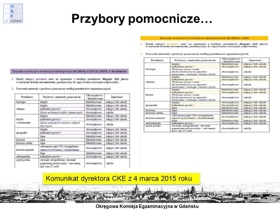 Okręgowa Komisja Egzaminacyjna w Gdańsku Przybory pomocnicze… Komunikat dyrektora CKE z 4 marca 2015 roku
