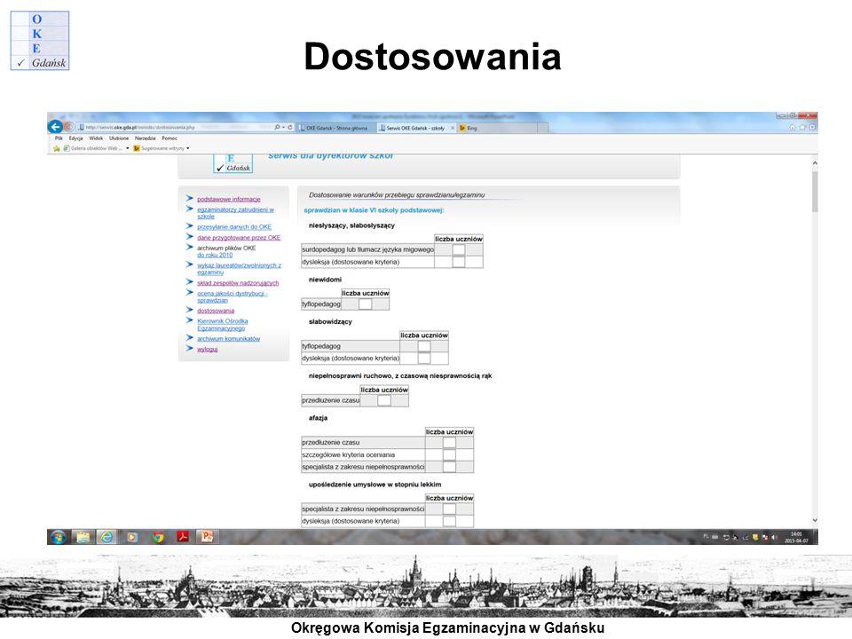 Okręgowa Komisja Egzaminacyjna w Gdańsku Dostosowania