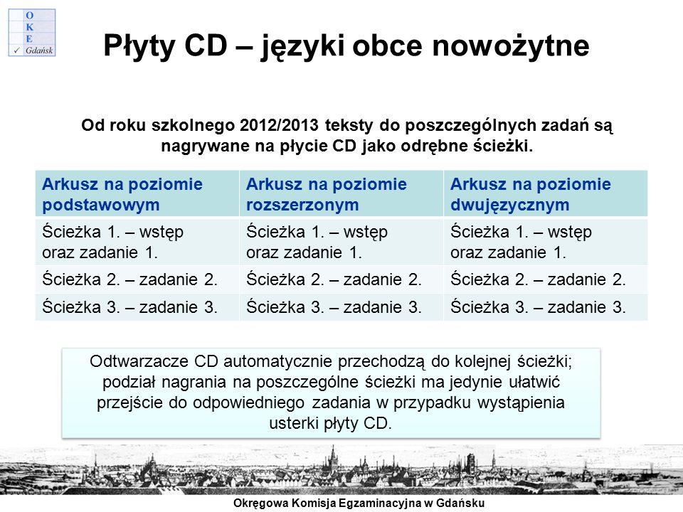 Okręgowa Komisja Egzaminacyjna w Gdańsku Płyty CD – języki obce nowożytne Od roku szkolnego 2012/2013 teksty do poszczególnych zadań są nagrywane na p