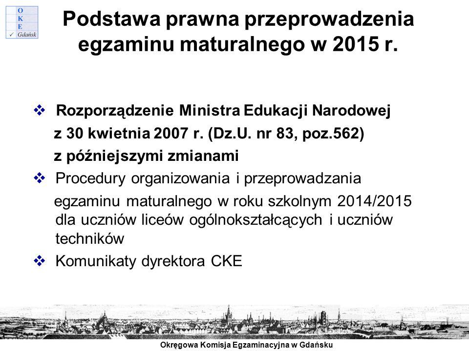 Okręgowa Komisja Egzaminacyjna w Gdańsku Podstawa prawna przeprowadzenia egzaminu maturalnego w 2015 r.  Rozporządzenie Ministra Edukacji Narodowej z