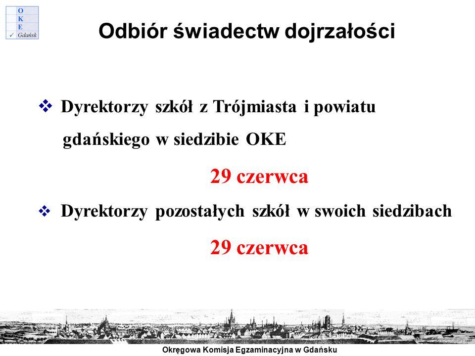 Okręgowa Komisja Egzaminacyjna w Gdańsku Odbiór świadectw dojrzałości  Dyrektorzy szkół z Trójmiasta i powiatu gdańskiego w siedzibie OKE 29 czerwca