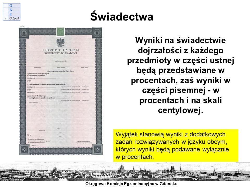 Okręgowa Komisja Egzaminacyjna w Gdańsku Wyniki na świadectwie dojrzałości z każdego przedmioty w części ustnej będą przedstawiane w procentach, zaś w