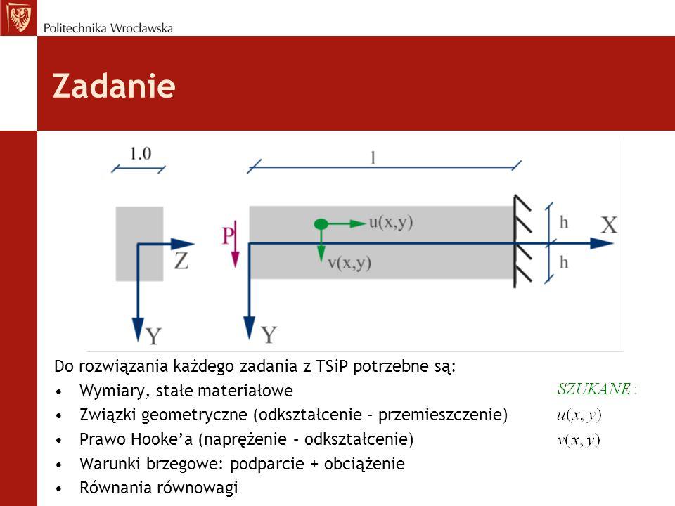 Zadanie Do rozwiązania każdego zadania z TSiP potrzebne są: Wymiary, stałe materiałowe Związki geometryczne (odkształcenie – przemieszczenie) Prawo Hooke'a (naprężenie – odkształcenie) Warunki brzegowe: podparcie + obciążenie Równania równowagi