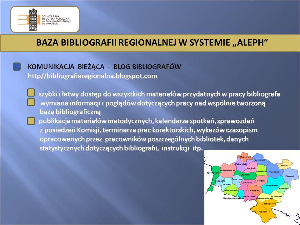 """BAZA BIBLIOGRAFII REGIONALNEJ W SYSTEMIE """"ALEPH - KOMUNIKACJA BIEŻĄCA - BLOG BIBLIOGRAFÓWhttp//bibliografiaregionalna.blogspot.com 1."""