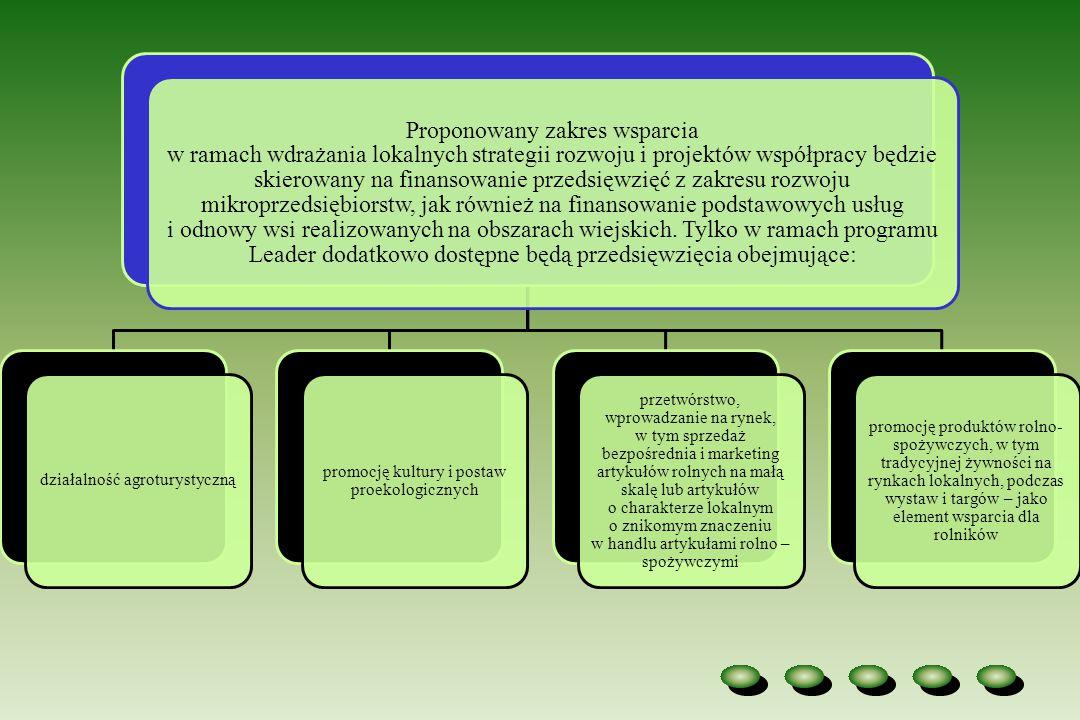 Proponowany zakres wsparcia w ramach wdrażania lokalnych strategii rozwoju i projektów współpracy będzie skierowany na finansowanie przedsięwzięć z za
