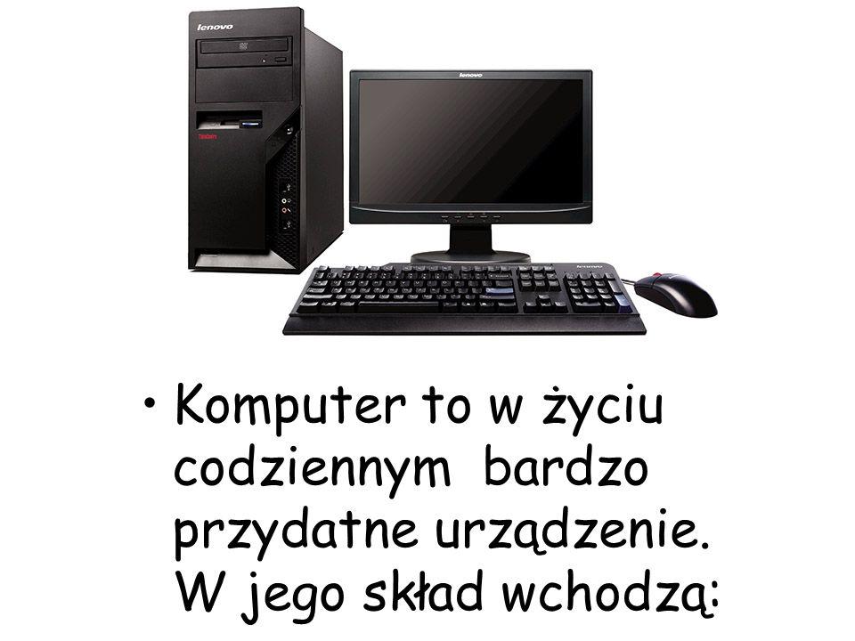 Komputer to w życiu codziennym bardzo przydatne urządzenie. W jego skład wchodzą: