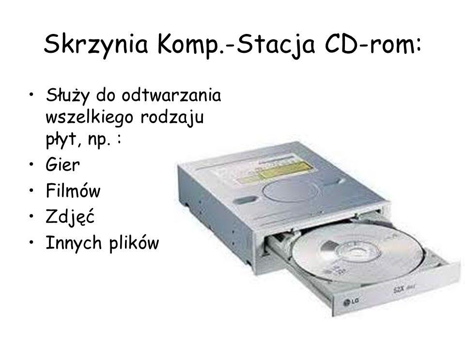 Skrzynia Komp.-Stacja CD-rom: Służy do odtwarzania wszelkiego rodzaju płyt, np. : Gier Filmów Zdjęć Innych plików