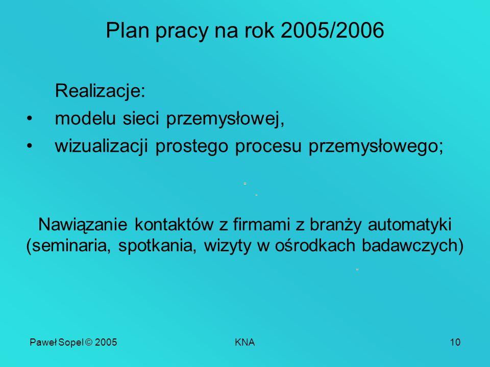Paweł Sopel © 2005KNA10 Plan pracy na rok 2005/2006 Realizacje: modelu sieci przemysłowej, wizualizacji prostego procesu przemysłowego; Nawiązanie kontaktów z firmami z branży automatyki (seminaria, spotkania, wizyty w ośrodkach badawczych)