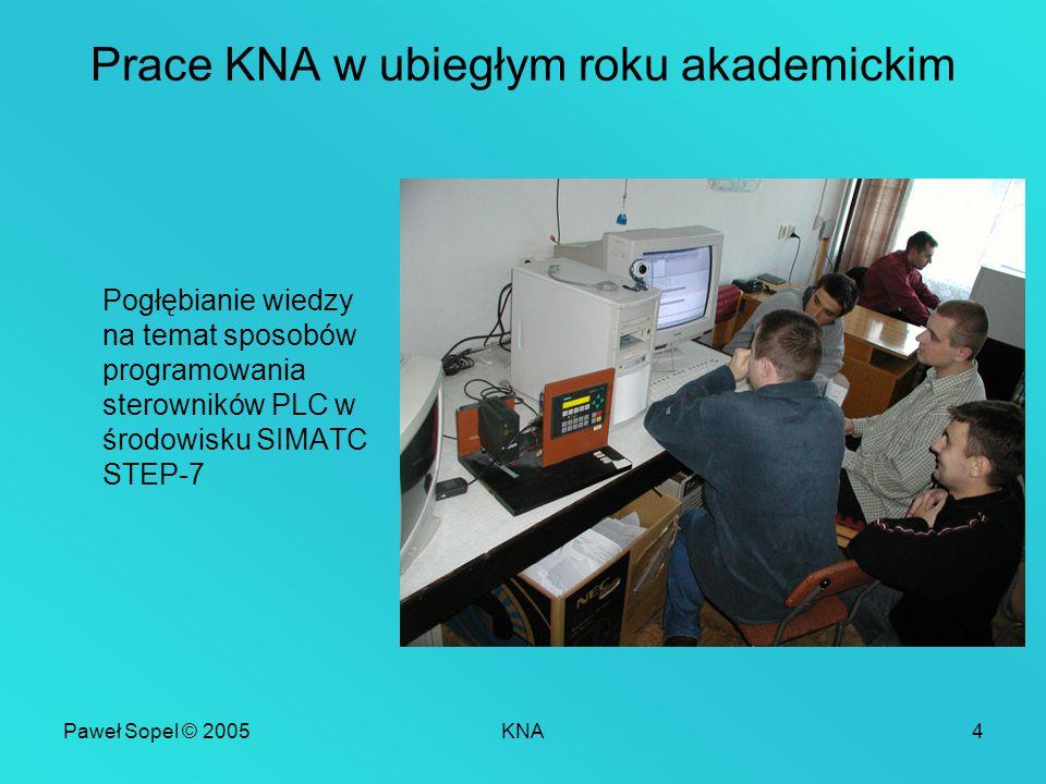 Paweł Sopel © 2005KNA4 Prace KNA w ubiegłym roku akademickim Pogłębianie wiedzy na temat sposobów programowania sterowników PLC w środowisku SIMATC STEP-7