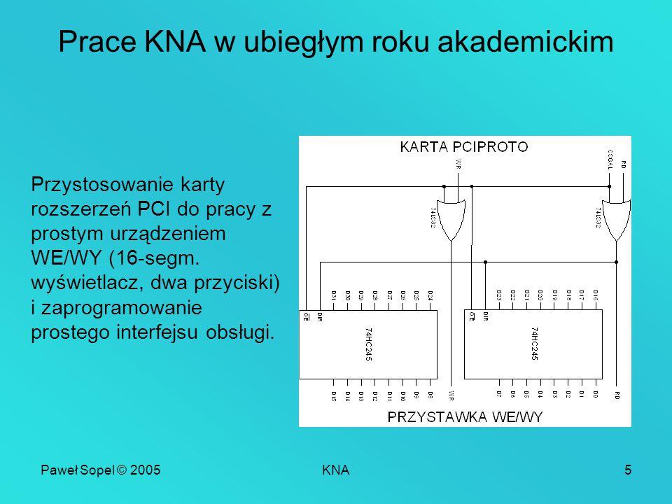 Paweł Sopel © 2005KNA5 Prace KNA w ubiegłym roku akademickim Przystosowanie karty rozszerzeń PCI do pracy z prostym urządzeniem WE/WY (16-segm. wyświe