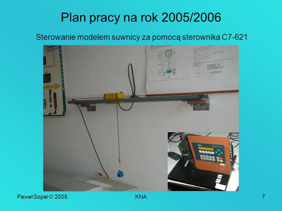 Paweł Sopel © 2005KNA7 Plan pracy na rok 2005/2006 Sterowanie modelem suwnicy za pomocą sterownika C7-621