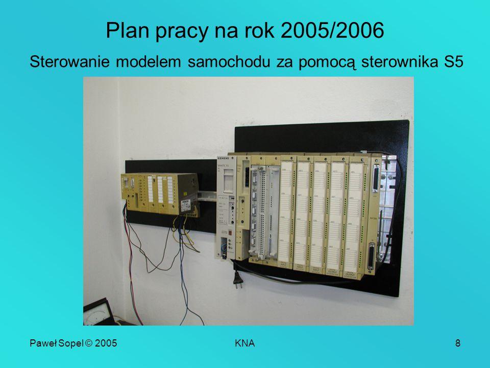 Paweł Sopel © 2005KNA8 Plan pracy na rok 2005/2006 Sterowanie modelem samochodu za pomocą sterownika S5