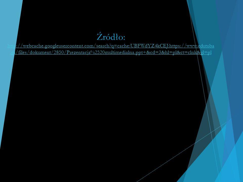 Źródło: http://webcache.googleusercontent.com/search?q=cache:UBFWdYZ4kCEJ:https://www.edutuba.pl/files/dokument/2850/Prezentacja%2520multimedialna.ppt