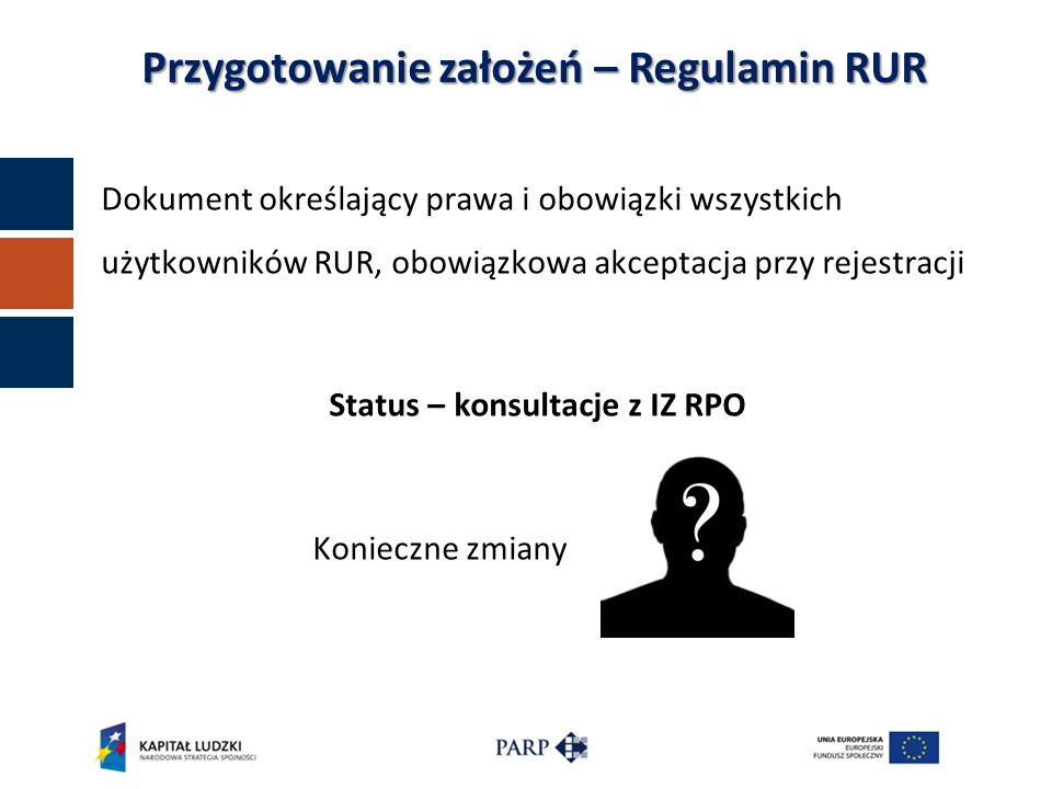 Dokument określający prawa i obowiązki wszystkich użytkowników RUR, obowiązkowa akceptacja przy rejestracji Status – konsultacje z IZ RPO Konieczne zmiany Przygotowanie założeń – Regulamin RUR
