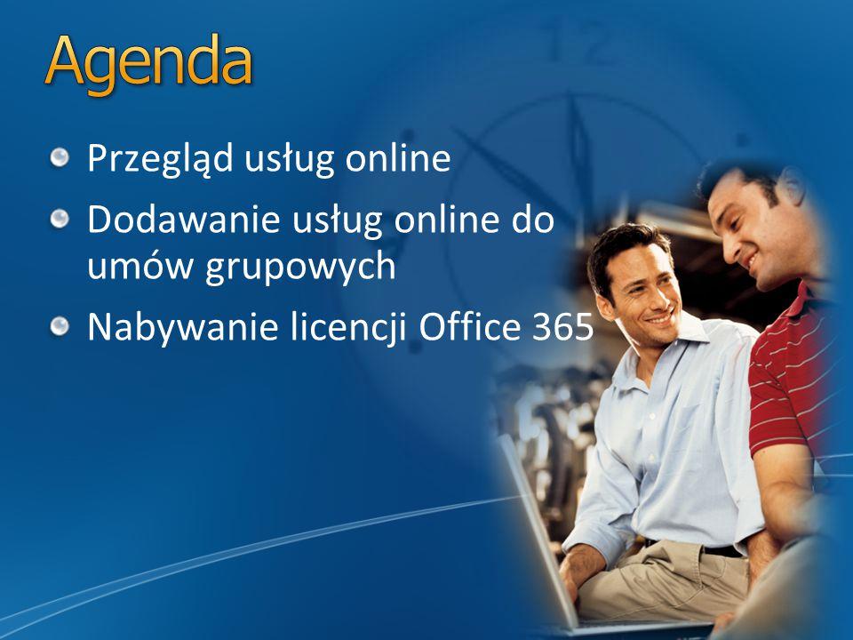 Przegląd usług online Dodawanie usług online do umów grupowych Nabywanie licencji Office 365